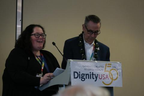 Meli Barber and Chris Pett address DignityUSA 50th anniversary conference closing sesison